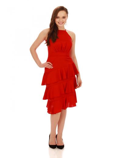 6ixty8ight Kırmızı  Saten Eteği Volanlı Kısa Abiye Elbise Kırmızı